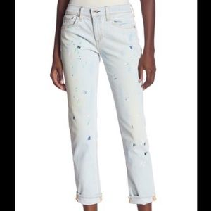 Rag and Bone Ankle Dre High Rise Paint Jeans Sz 25